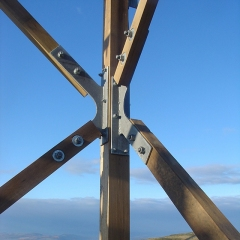 Leg and bracing connections on a timber tower.