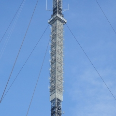Design of steelwork to support broadcast FM antennas on a number of guyed masts.